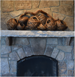 Cluster Of Baskets Used As Fireplace Sculptures
