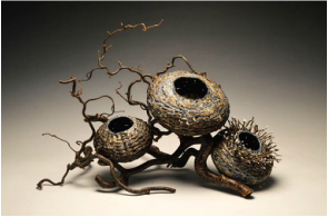 encaustic, sculptural basketry, basket art, branch art