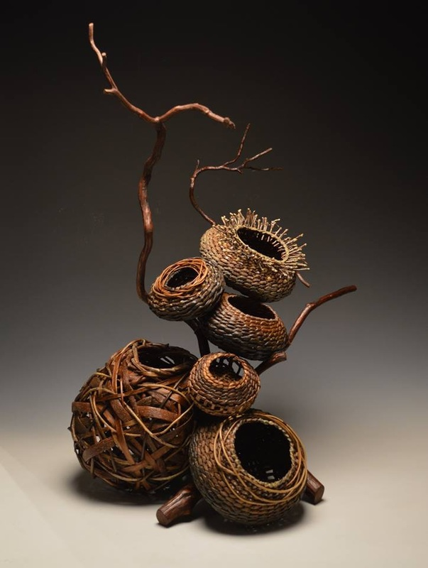 sculptural basketry, basket art, branch art, organic sculpture