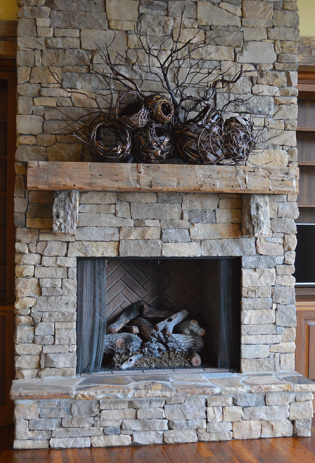 Fully Decorated Hearth With Fireplace Sculptures