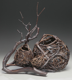 sculptural art basket, bark basket, vine basket, nest basket, art basket, random weave, oriole basket, egg basket