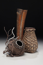 Baskets With A Large Reed As Rustic Sculptures
