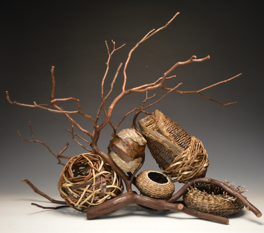 5 Baskets With A Branch To Be Used As Fireplace Sculptures