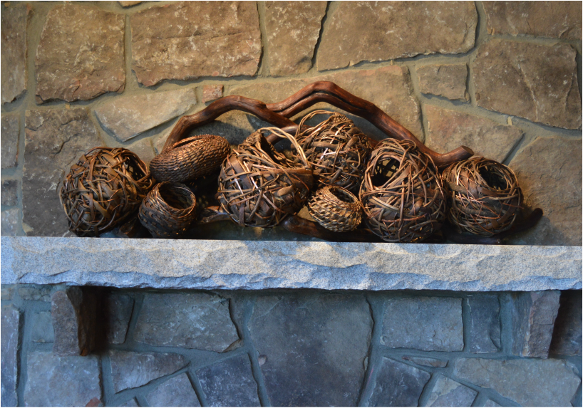 8 Woven Baskets With A Large Branch To Go On Cool Fireplace Mantels