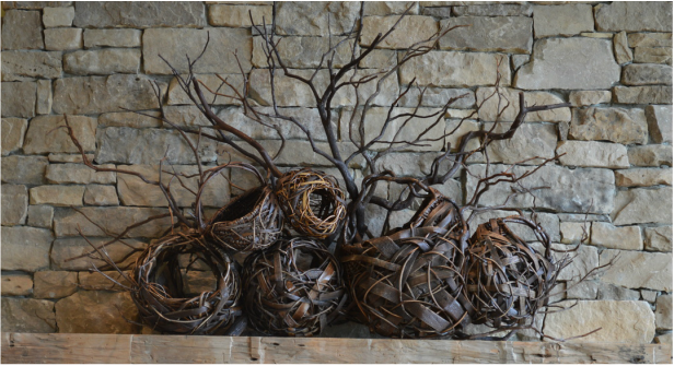 Branch art for fireplace mantel made by Matt Tommey in Asheville, North Carolina's River Arts District.