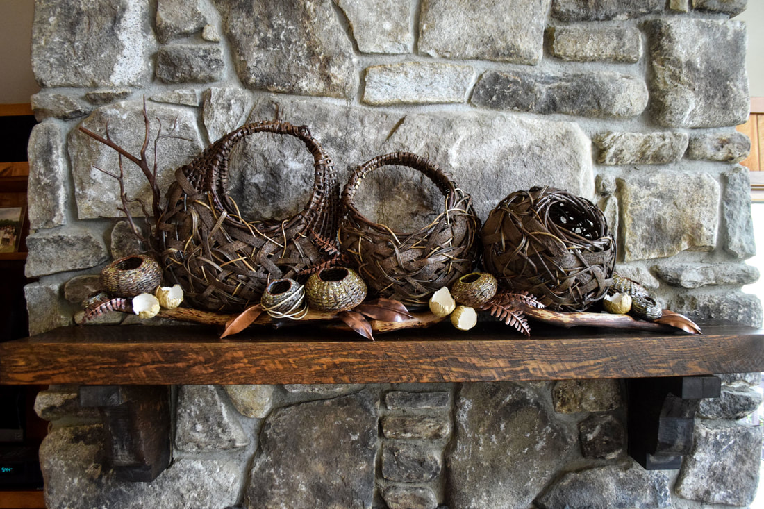 fireplace mantel sculpture, art baskets, contemporary basketry